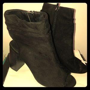 Black peep toe peep heel boots